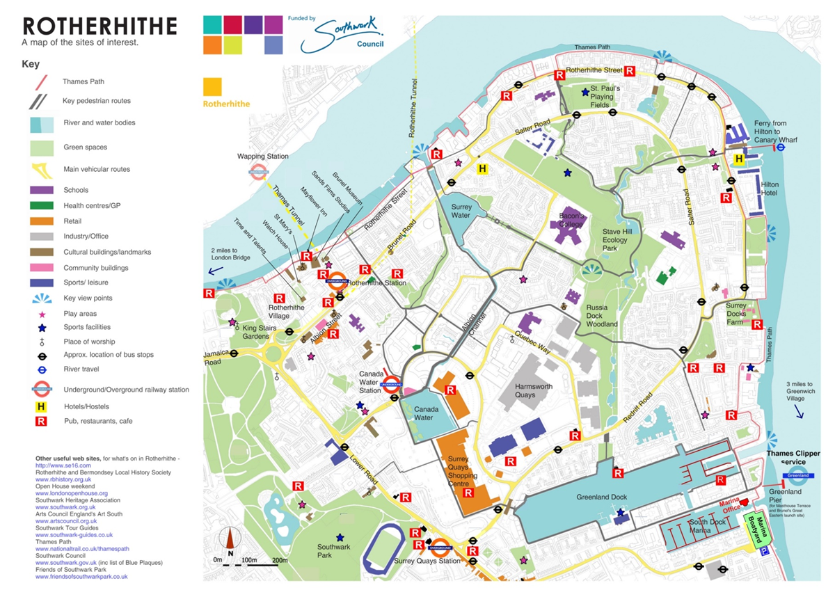 South London Areas Map.About South Dock Marina Southwark Council