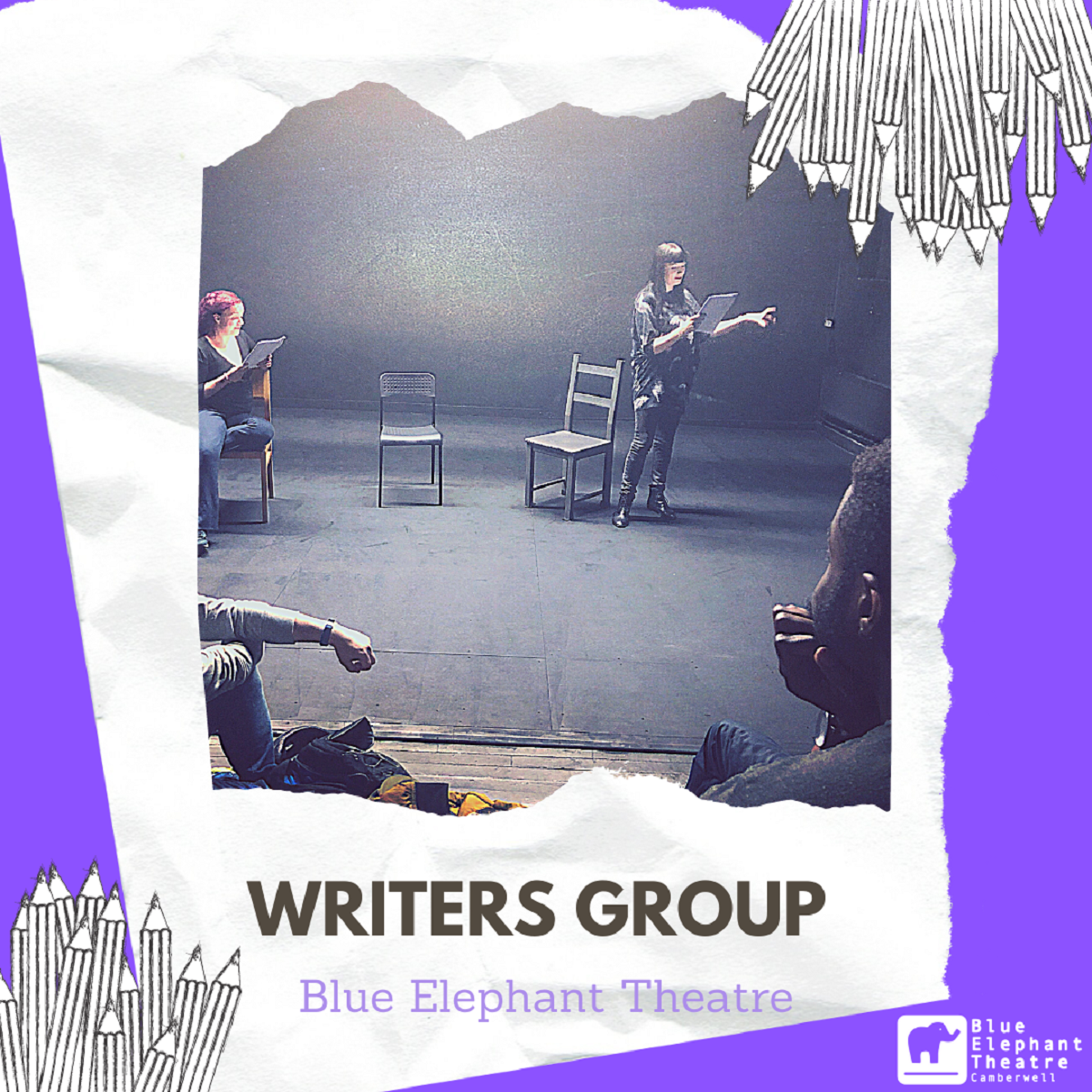 article thumb - Writers Group poster with a purple background, and image of two women reading from script, one sitting and one standing