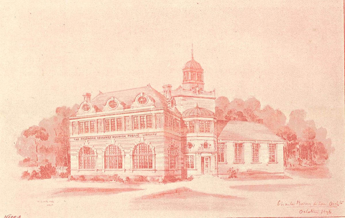article thumb - Dulwich Library (as depicted in the programme for the October 1896 ceremony of laying the foundation stone)