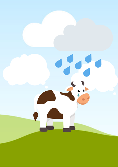 A cow standing in a field, with a raincloud raining down on top on him