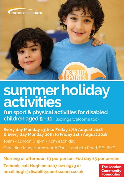 Summer Holiday Sports Activity for Disabled Children