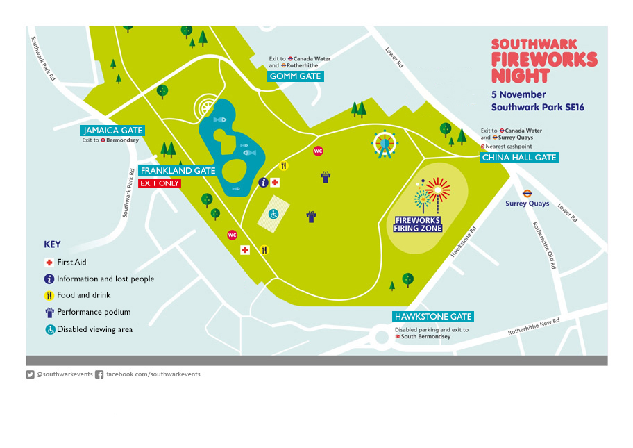 Southwark Fireworks Night 2019 site map